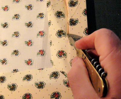 Cadre recouvert avec du tissu for Couper un miroir