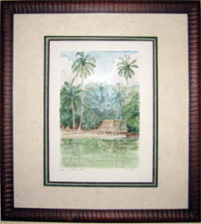 framed watercolor New Caledonia Ile des Pins